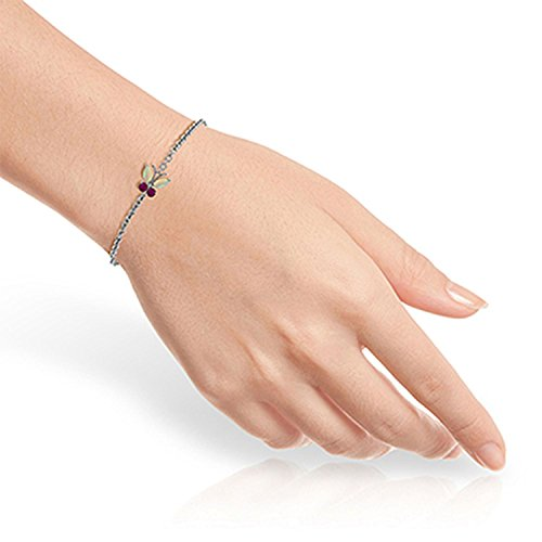 ALARRI 0.6 Carat 14K Solid White Gold Coming Down Love Opal Ruby Bracelet Size 7 Inch Length by ALARRI (Image #2)