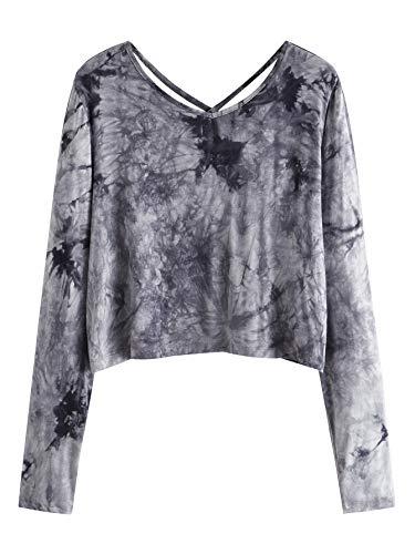 SweatyRocks Women's Tie Dye Print Crop Top T Shirt Long Sleeve