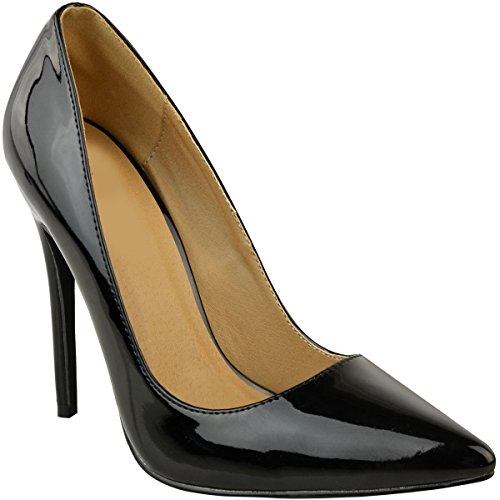 Fashion Thirsty Heelberry® Womens Ladies Court Shoes Stilettos High Heels Pointy Party Evening Sandals Size black patent 6rPFgc