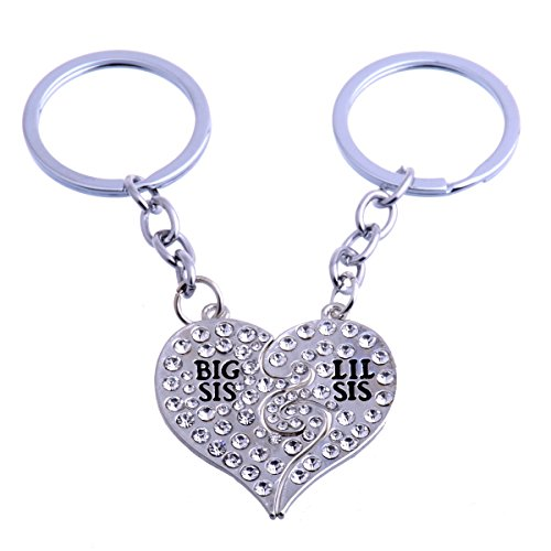 (TOPFAST Big Sis and Lil Sister Matching Keychains Crystal Heart Set for Best Gift)