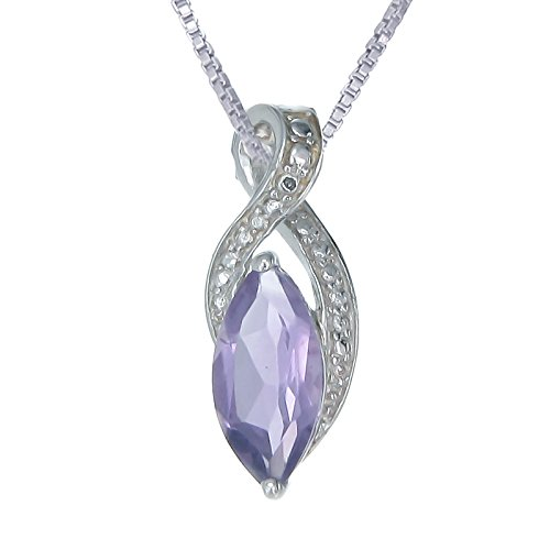- Sterling Silver Amethyst Pendant (1.50 CT) With 18 Inch Chain