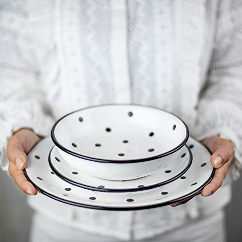 City to Cottage Handmade White and Black Polka Dot Ceramic 12 Piece Dinnerware Set | Pottery Tableware Service for 4 | Dinner Plates | Side Plates | Bowls | Housewarming Gift