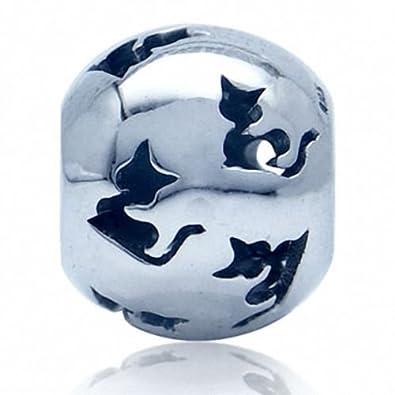 Abalorio de plata de ley con diseño de filigrana y gatos, se ...