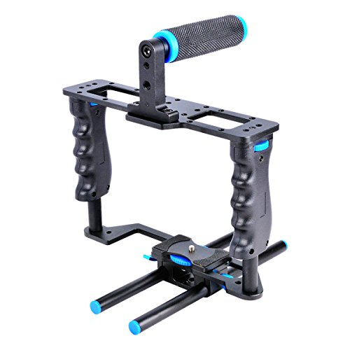 YaeCCC Aluminum Alloy Camera Video Cage Film Movie Making Kit include:(1)Video Cage(1)Top Handle Grip(2)15mm Rod for DSLR Cameras Such as Canon 5D mark II III 700D 650D Nikon D7200 Pentax Sony Olympus by YaeCCC