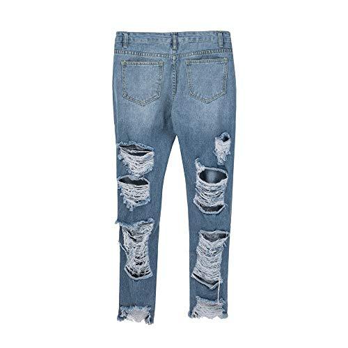 Slim Trou conqueror Longueur Bleu Skinny Denim Clair Haute Pantalon Mollet Stretch Taille Femmes Jeans Jeans TxIxzaw