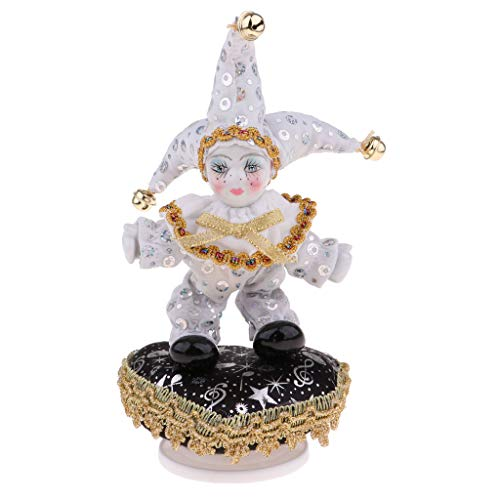 Prettyia 8 inch Adorable Kids Angel Model Porcelain Music Triangel Doll Harlequin Clown Doll Bell Hat Christmas Xmas Gift Collectibles White