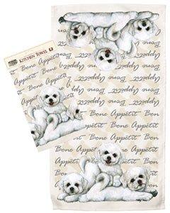 Bichon Frise Puppy Dog Breed Kitchen Tea Towel