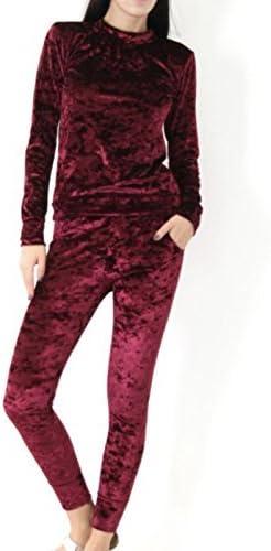 Chándal para mujer, aspecto de terciopelo triturado, 2 piezas
