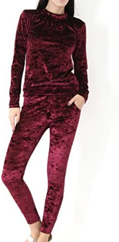 TALLA S-M. Chándal para mujer, aspecto de terciopelo triturado, 2 piezas