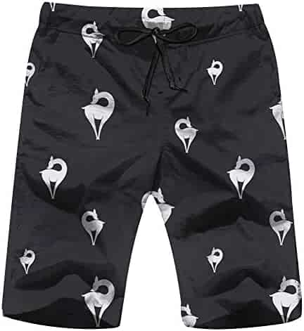 Mens Beach Shorts Quick Dry Dice Art Summer Holiday Mesh Lining Swimwear Board Shorts with Pockets