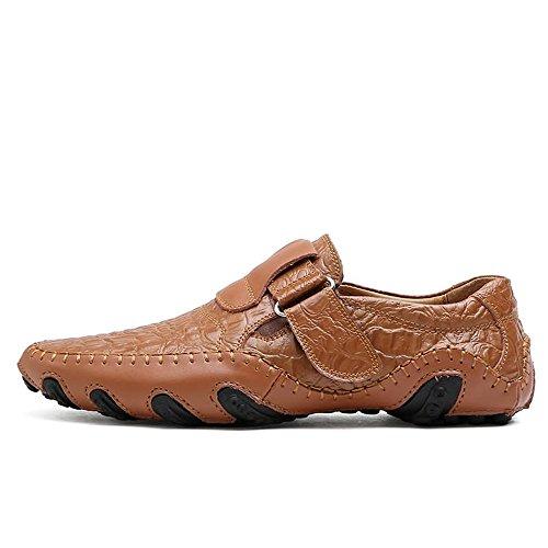 hasta Meimei Cuero con de talón Genuino 44 Plano Talle para el Marrón tamaño EU Cordones 47 Color shoes de Zapatillas con Slip on Mocasines Hombres Deporte rzwT8Zrq