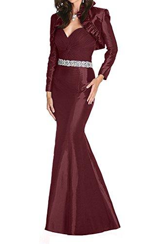 Taft Ballkleider Etuikleider Burgundy Langes Jaket mit La Partykleider Langarm mia Festlichkleider Abendkleider Braut XqwxOxAE