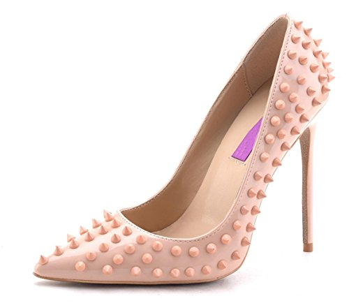 (Jiu du Women's High Heel for Wedding Party Pumps Fashion Rivet Studded Stiletto Pointed Toe Dress Shoes Nude Patent PU Size US9 EU41)