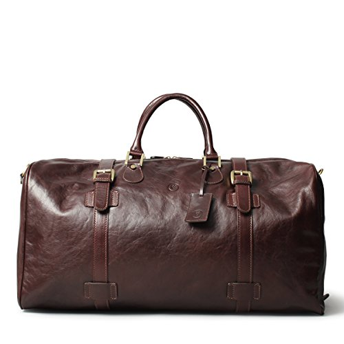 Maxwell Scott© Brown Quality Leather Luggage (The FleroEL) - Extra Large by Maxwell Scott Bags