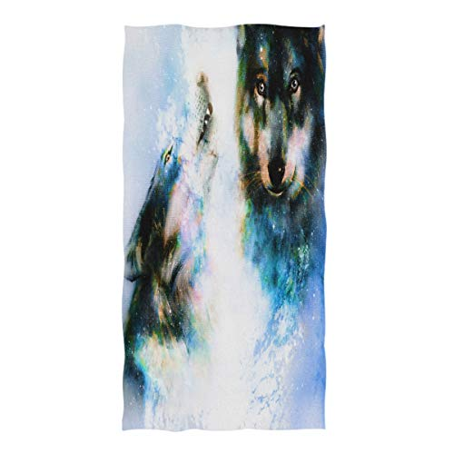 Wamika Space Wolf Painting Hand Towels, Painting Animal Bathroom Towel Quick-Drying Absorbent Towel for Hand Face Gym Spa for Teen Girls Adults Travel Pool Gym Use 30 X 15 Inches ()
