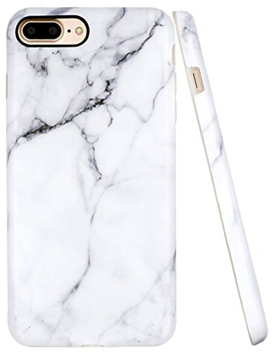 Pattern White Case (Iphone 7 Plus Case, A-Focus White Marble Stone Pattern IMD Anti-Scratch Anti-Finger Slim Flexible TPU Cover Case for Iphone 7 Plus / Iphone 8 Plus 5.5