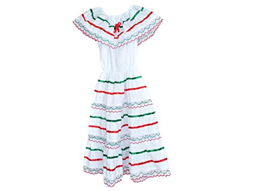 ARMENGOL Campesino Mexican Tricolor Dress Made by Mexican artisans (Medium, Tricolor)