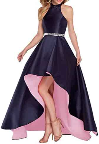 c59997bd3a7 Lamosi Women Halter High Low Beaded Prom Formal Dress Long Satin Evening  Homecoming Party Gown