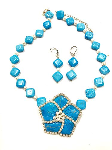 -TURQUOISE FLOWER DESIGN PENDANT WITH PEARLS ACCENT HANDMADE JEWELRY SET- READY TO ()