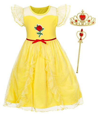 HenzWorld Princess Belle Mesh Layered Costume Dress Nightgowns for Little Girl Night Birthday Party Pajamas with Wand Tiara Accessories 3-4 Years -