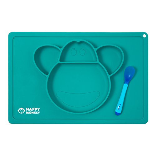 Silicone Placemat   Baby Spoon By Happy Monkey   One Piece Food Mat With Plate   Bowl For Kids   Toddler   4 Sections   Non Slip Tray  Secure Suction  Blue