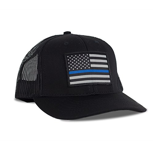 - Thin Blue Line American Flag Flexfit Hat - Snapback Mesh Trucker