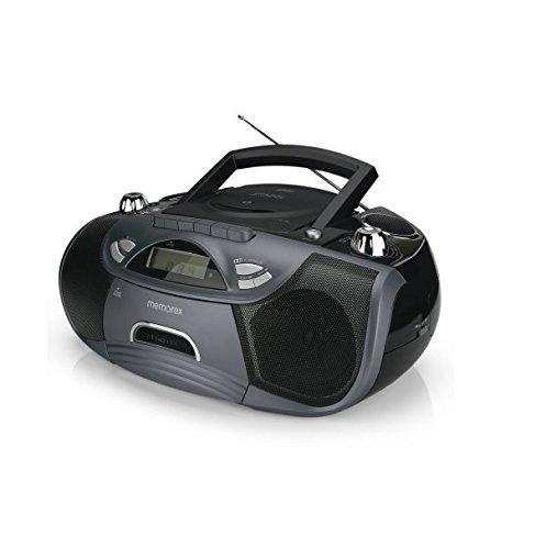 Memorex CD/Cassette Recorder Boombox MP3 AM/FM FlexBeats MP3262 with Aux line in jack - Black