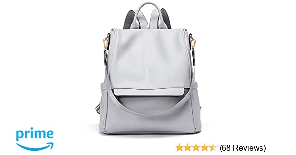 5ad98aba74 Amazon.com  Womens Backpacks Purse Fashion Leather Anti-theft Large Travel Bag  Ladies Shoulder Bags gray  Shoes