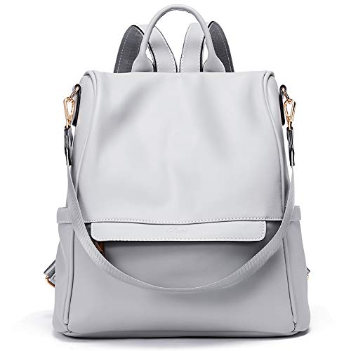 (Womens Backpacks Purse Fashion Leather Anti-theft Large Travel Bag Ladies Shoulder Bags Gray)