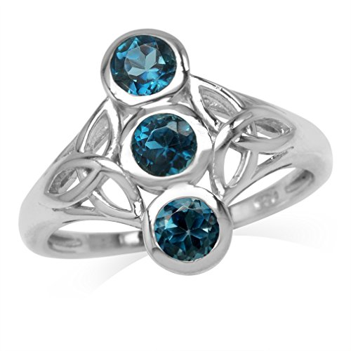 1.02ct. 3-Stone 4MM Genuine Round London Blue Topaz 925 Sterling Silver Triquetra Celtic Knot Ring Size 7