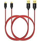 Anker Cable USB de Nylon Entrelazado Libre de Enredos (con Clavija Bañada en Oro; para Android, Samsung, HTC, Nokia, Sony, BQ, Xiaomi y más) (2×1.8m, Rojo)