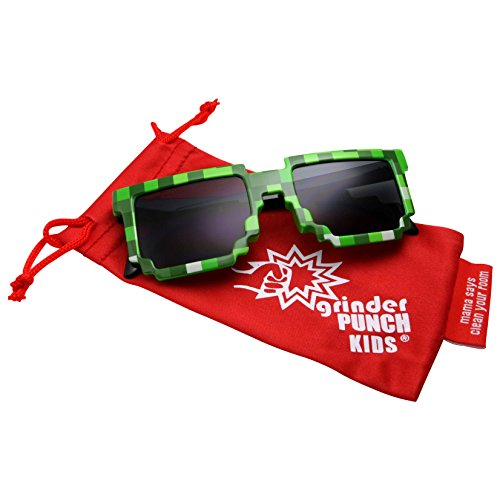 grinderPUNCH KIDS Children's 8-Bit Pixel Retro Novelty Gamer Sunglasses Ages 4+ - 8bit Gamer