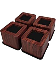 MIIX HOOM Bed Risers 3 Inch | Heavy Duty Wooden Color Furniture Risers | 4PCS | Sofa Couch Risers or Table Risers