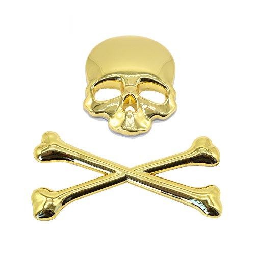 - 3D Skull Metal Skeleton Crossbones Car Motorcle Sticker Label Skull Emblem Badge Car Styling Stickers Accessories (Gold)