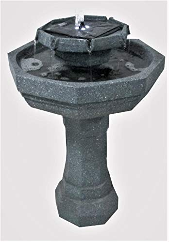 2 Tier Octagonal Sage Fountain Solar Birdbath with LED Lights ASF302A - Octagonal Fountain
