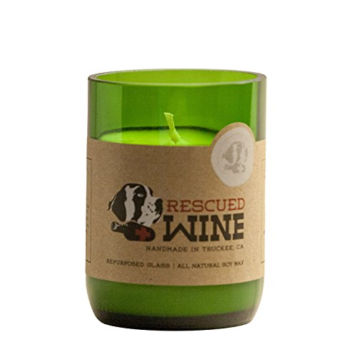 Apple Chardonnay Wine (Rescued Wine Recycled Wine Bottle Soy Wax Candle, Chardonnay)
