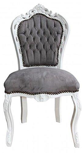 Casa Padrino Barock Esszimmer Stuhl Grau/Weiß   Antik Stil