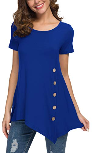 - Viishow Women's Short Sleeve Scoop Neck Button Side Tunic Top (XL, Royal Blue)