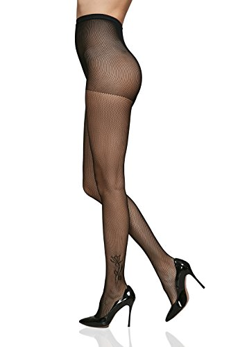Design Fishnet (Fishnet Tights High Waist Control Top Seamless Small Mesh Pantyhose With Designs (Small/Medium, Black))