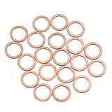 X AUTOHAUX 20pcs 12mm Inner Dia Copper Washers Flat Sealing Gaskets Ring for Car
