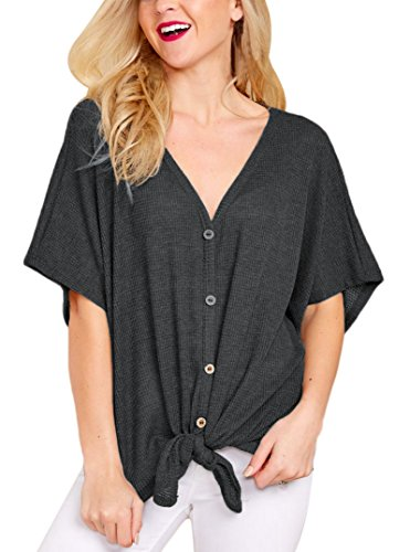 Lucklovell Women Sexy Black Dolman Buttoned Front Top with Tie ((US 8-10) M, ()