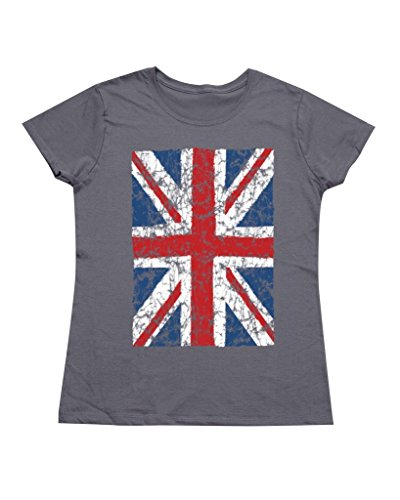 P&B Vintage Union Jack Flag Women's T-Shirt, 3XL, Charcoal (Womens Vintage T Shirts British compare prices)