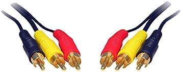 10 m 3 33 RCA/RCA macho a 3 RCA/RCA macho - Cable dorado
