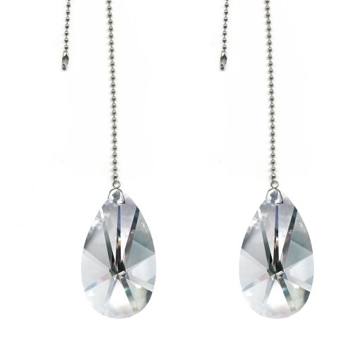 Magnificent Crystal 2 In. Clear Crystal Pear Prism 2 pieces Dazzling Crystal Ceiling FAN Pull Chains by CrystalPlace