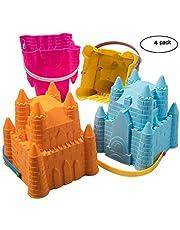 Top Race ToyZe Sand Castle Pail Buckets, Beach Pails, Sand Mold Pails, 8 Inch Pack of 4, Various Colors