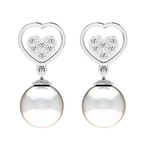 Libertini Boucle d'oreille argent 925 plaque or Jaune serti de Diamant et Perle en fArgentme de Coeur