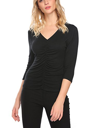 Mofavor Women's V Neck Long Sleeve Ruched Blouse Stretch Tank Tops Black, XL (Top Sleeve V-neck Long Tank)