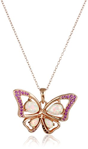 14k Rose Gold Plated Sterling Silver Created Opal and Pink Sapphire Butterfly Pendant Necklace, 18