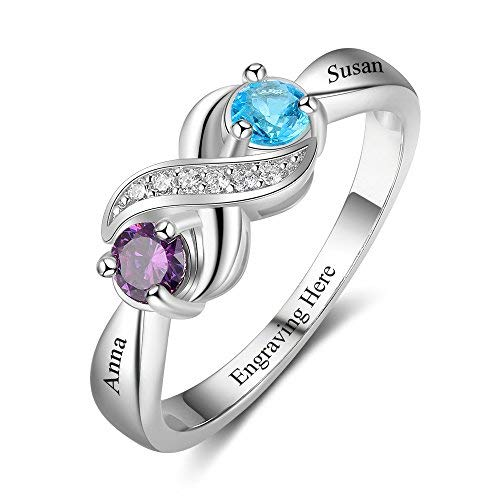 Love Jewelry Personalized Infinity Mothers Ring with 2 Round Simulated Birthstones Engagement Promise Rings for Women (6) (Mother Child Ring)
