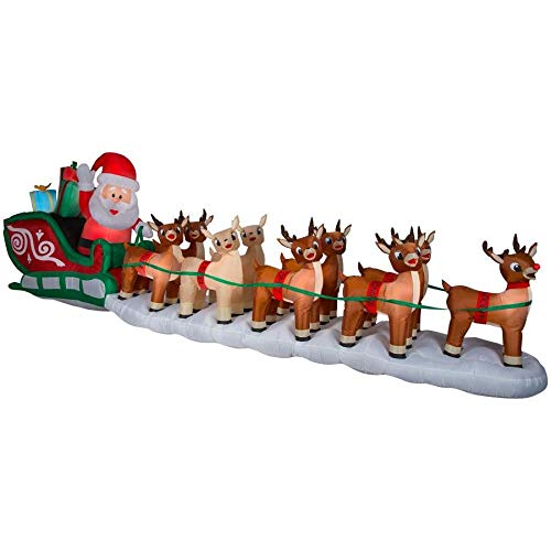 Gemmy Rudolph 17 Ft. Lighted Christmas Inflatable Santa in Sleigh w/ 8 Reindeer and Rudolph Airblown Holiday Decoration Indoor/Outdoor and Rudolph for $<!--$599.99-->
